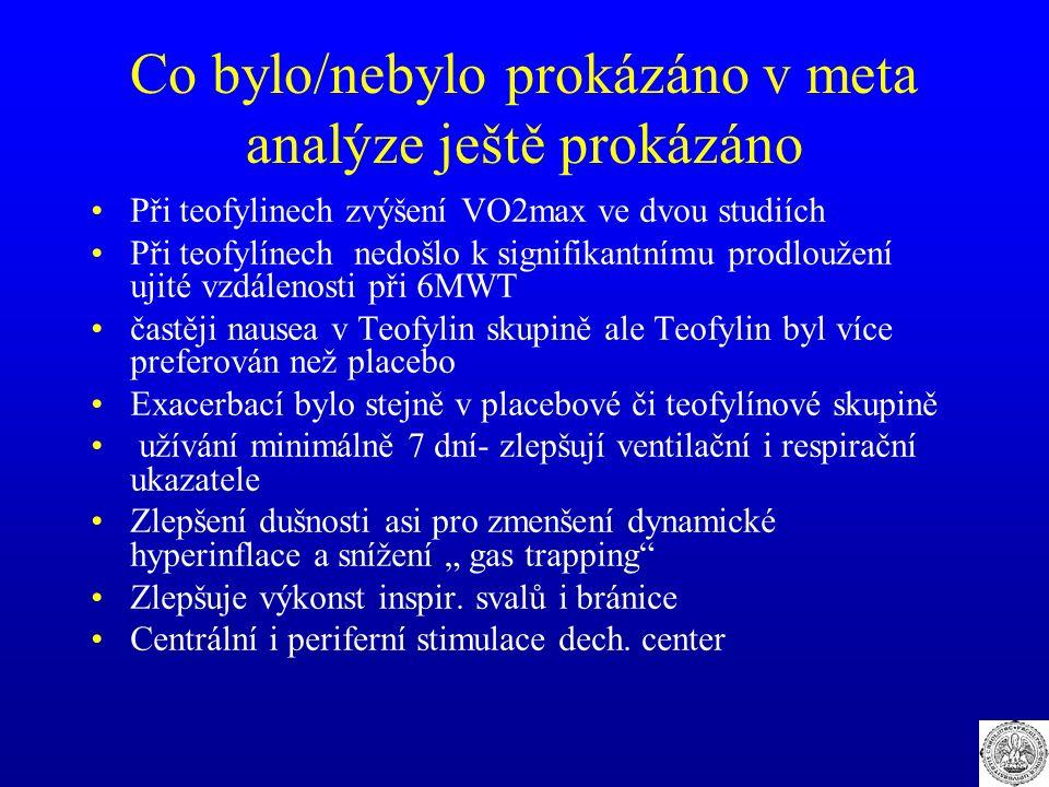 Co bylo/nebylo prokázáno v meta analýze ještě prokázáno Při teofylinech zvýšení VO2max ve dvou studiích Při teofylínech nedošlo k signifikantnímu prod