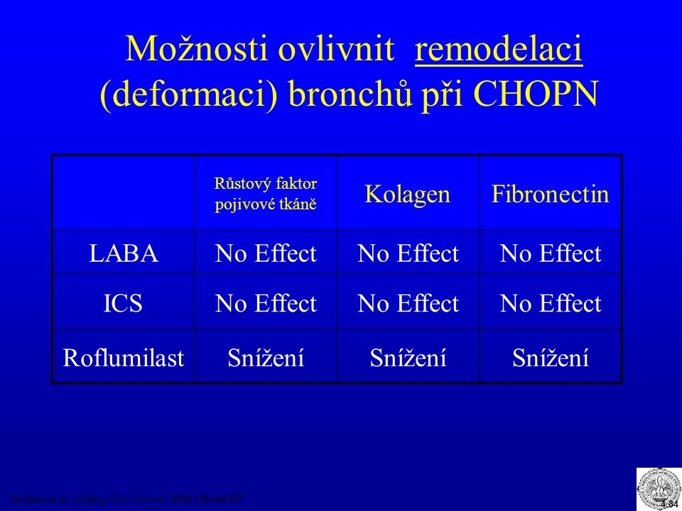 Možnosti ovlivnit remodelaci (deformaci) bronchů při CHOPN Burgess et al.