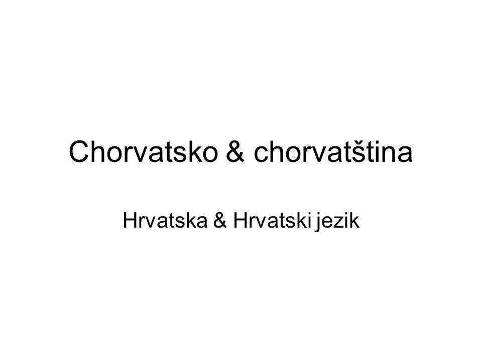 Chorvatština v průběhu staletí Hlaholská tradice Písma /hlaholice, latinka, bosančice, cyrilice/ Problém srbochorvatštiny –Jeden jazyk = dvě varianty Problém purismu v 90.
