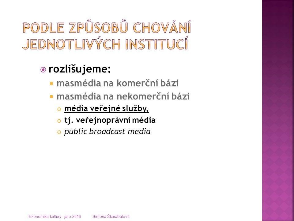  rozlišujeme:  masmédia na komerční bázi  masmédia na nekomerční bázi média veřejné služby, tj. veřejnoprávní média public broadcast media Ekonomik