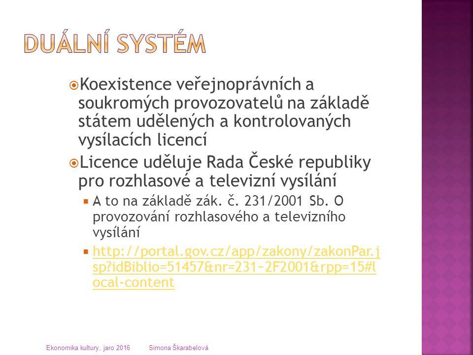  Koexistence veřejnoprávních a soukromých provozovatelů na základě státem udělených a kontrolovaných vysílacích licencí  Licence uděluje Rada České republiky pro rozhlasové a televizní vysílání  A to na základě zák.