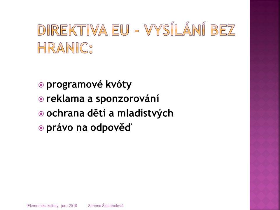 programové kvóty  reklama a sponzorování  ochrana dětí a mladistvých  právo na odpověď Ekonomika kultury, jaro 2016 Simona Škarabelová