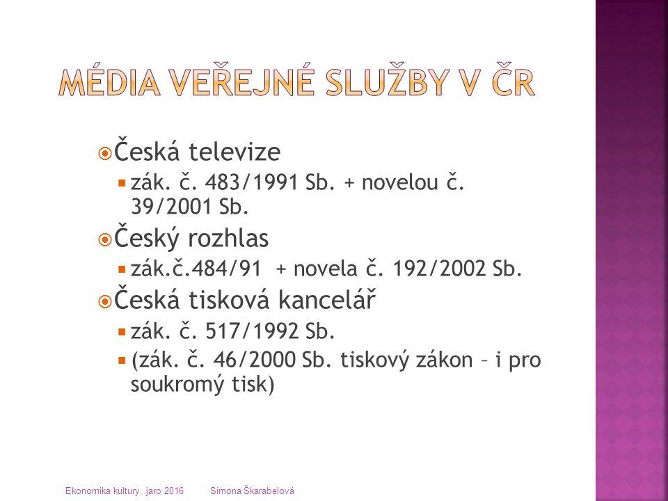  Česká televize  zák. č. 483/1991 Sb. + novelou č. 39/2001 Sb.  Český rozhlas  zák.č.484/91 + novela č. 192/2002 Sb.  Česká tisková kancelář  zá