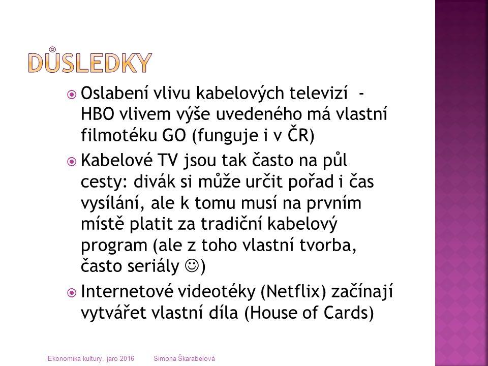  Oslabení vlivu kabelových televizí - HBO vlivem výše uvedeného má vlastní filmotéku GO (funguje i v ČR)  Kabelové TV jsou tak často na půl cesty: d