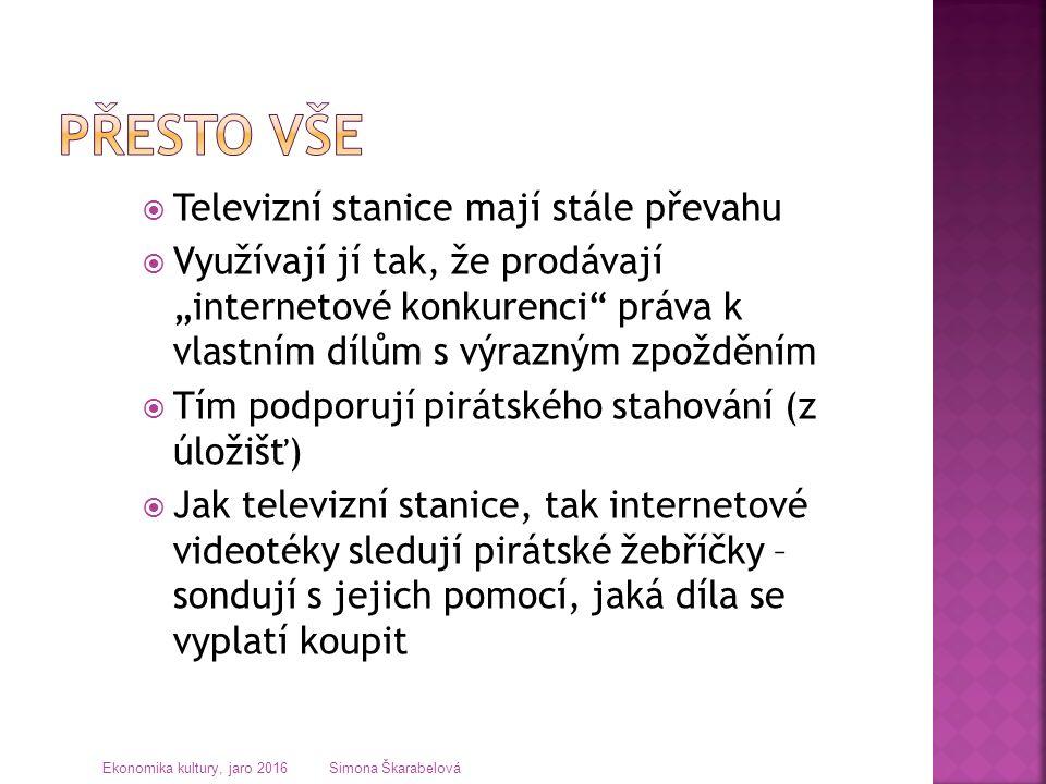 """ Televizní stanice mají stále převahu  Využívají jí tak, že prodávají """"internetové konkurenci práva k vlastním dílům s výrazným zpožděním  Tím podporují pirátského stahování (z úložišť)  Jak televizní stanice, tak internetové videotéky sledují pirátské žebříčky – sondují s jejich pomocí, jaká díla se vyplatí koupit Ekonomika kultury, jaro 2016 Simona Škarabelová"""