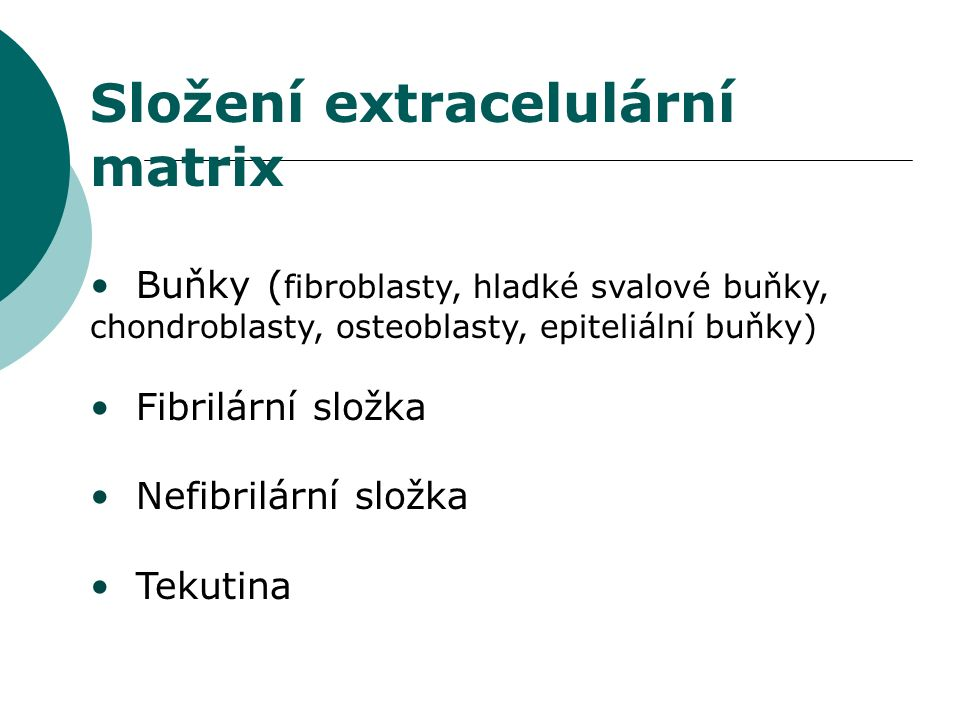 Složení extracelulární matrix Buňky ( fibroblasty, hladké svalové buňky, chondroblasty, osteoblasty, epiteliální buňky) Fibrilární složka Nefibrilární složka Tekutina