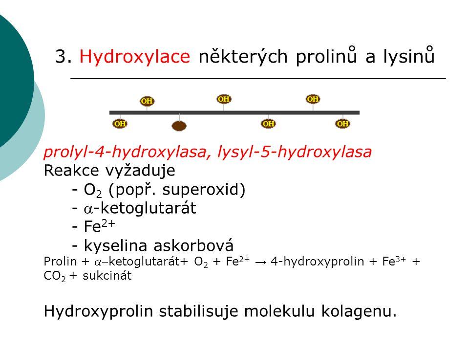 4.Glykosylace – vazba glukosy a galaktosy na některé hydroxylysylové zbytky.