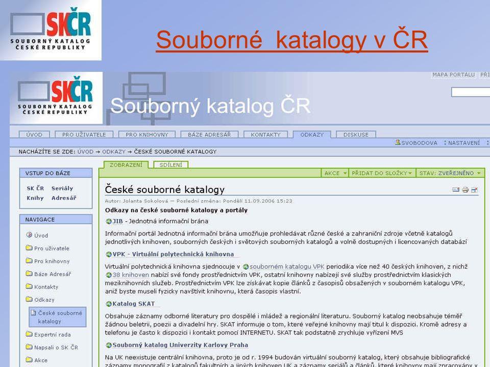 Porada profesionálních knihoven Středočeského kraje Které pověřené knihovny přispívající do SK ČR elektronicky .