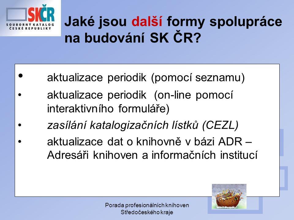 Porada profesionálních knihoven Středočeského kraje Jaké jsou další formy spolupráce na budování SK ČR.