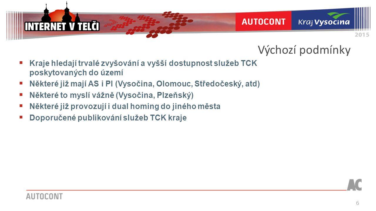 6 Výchozí podmínky  Kraje hledají trvalé zvyšování a vyšší dostupnost služeb TCK poskytovaných do území  Některé již mají AS i PI (Vysočina, Olomouc, Středočeský, atd)  Některé to myslí vážně (Vysočina, Plzeňský)  Některé již provozují i dual homing do jiného města  Doporučené publikování služeb TCK kraje