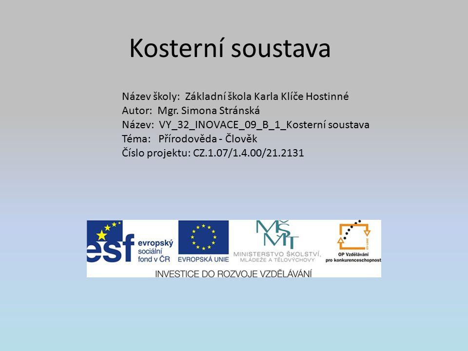 Kosterní soustava Název školy: Základní škola Karla Klíče Hostinné Autor: Mgr.