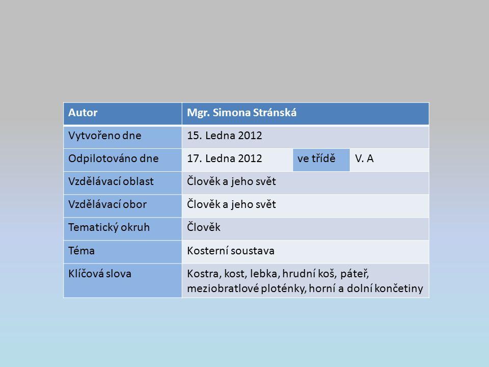 AutorMgr. Simona Stránská Vytvořeno dne15. Ledna 2012 Odpilotováno dne17.