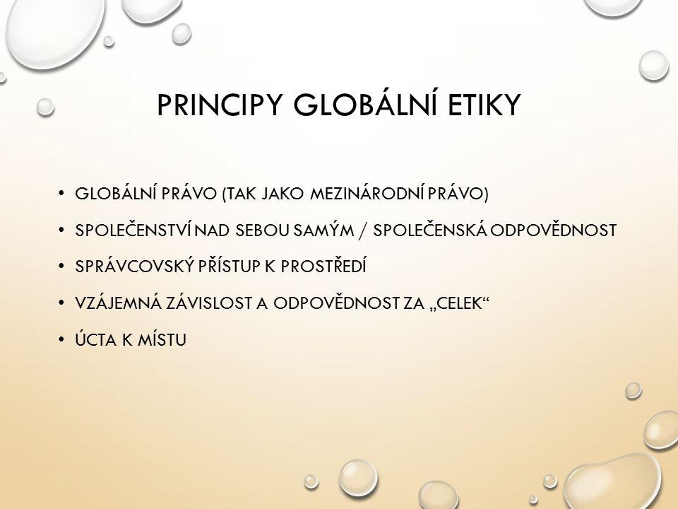 PRINCIPY GLOBÁLNÍ ETIKY GLOBÁLNÍ PRÁVO (TAK JAKO MEZINÁRODNÍ PRÁVO) SPOLEČENSTVÍ NAD SEBOU SAMÝM / SPOLEČENSKÁ ODPOVĚDNOST SPRÁVCOVSKÝ PŘÍSTUP K PROST