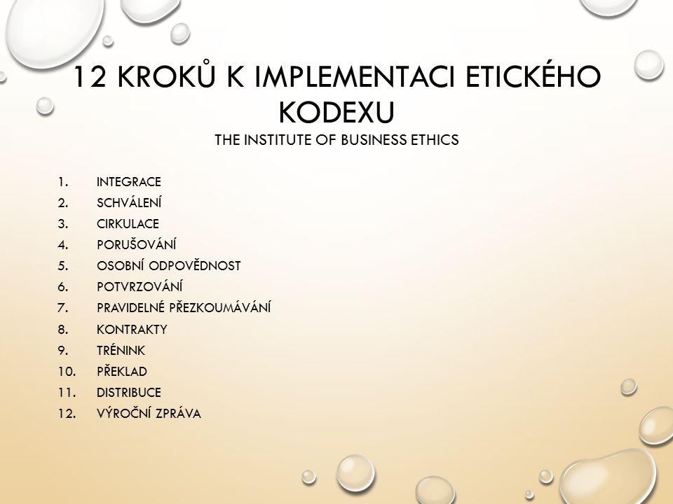 12 KROKŮ K IMPLEMENTACI ETICKÉHO KODEXU THE INSTITUTE OF BUSINESS ETHICS 1.INTEGRACE 2.SCHVÁLENÍ 3.CIRKULACE 4.PORUŠOVÁNÍ 5.OSOBNÍ ODPOVĚDNOST 6.POTVR