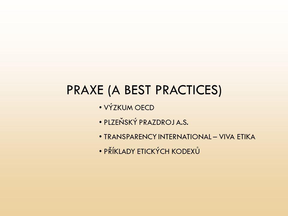 PRAXE (A BEST PRACTICES) VÝZKUM OECD PLZEŇSKÝ PRAZDROJ A.S. TRANSPARENCY INTERNATIONAL – VIVA ETIKA PŘÍKLADY ETICKÝCH KODEXŮ