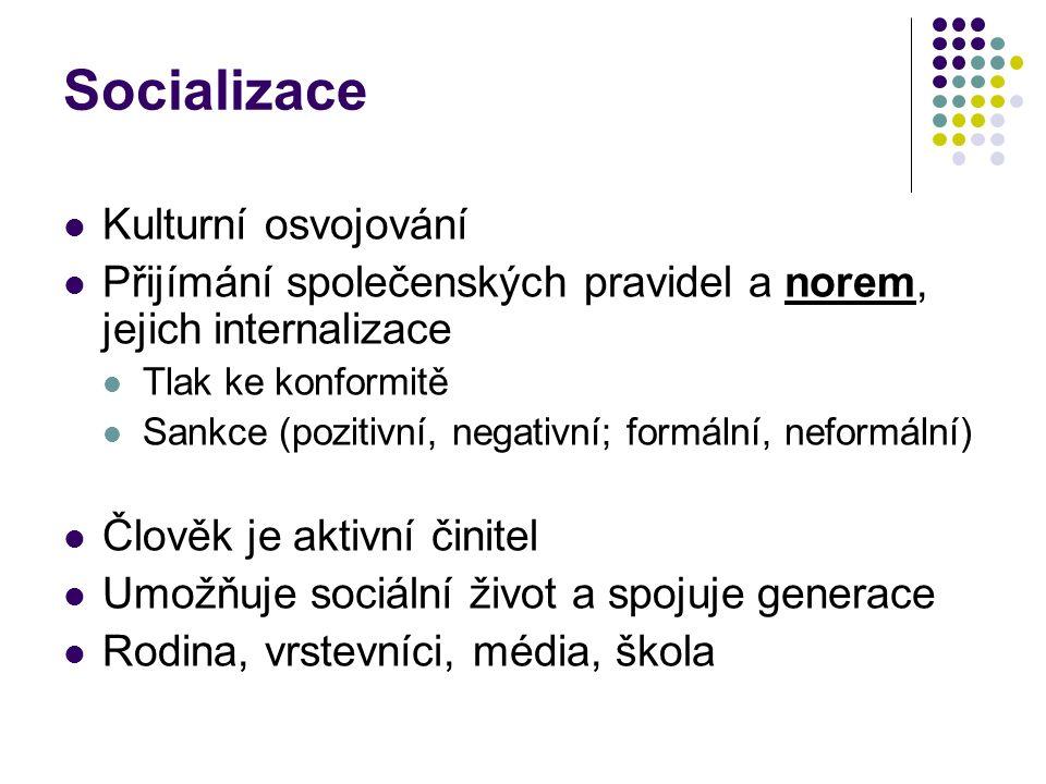 Socializace Kulturní osvojování Přijímání společenských pravidel a norem, jejich internalizace Tlak ke konformitě Sankce (pozitivní, negativní; formál