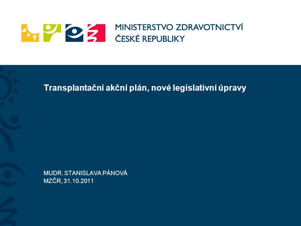 Transplantační akční plán, nové legislativní úpravy MUDR. STANISLAVA PÁNOVÁ MZČR, 31.10.2011
