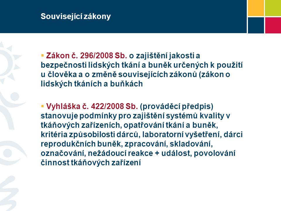 Související zákony  Zákon č.296/2008 Sb.