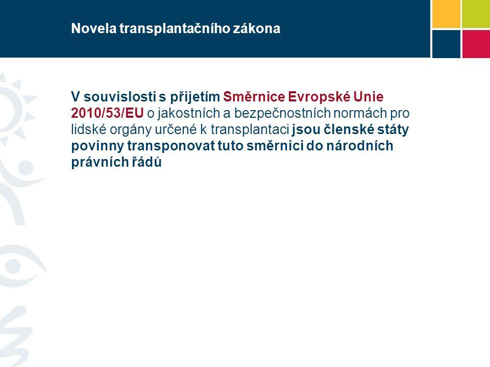 Novela transplantačního zákona V souvislosti s přijetím Směrnice Evropské Unie 2010/53/EU o jakostních a bezpečnostních normách pro lidské orgány určené k transplantaci jsou členské státy povinny transponovat tuto směrnici do národních právních řádů