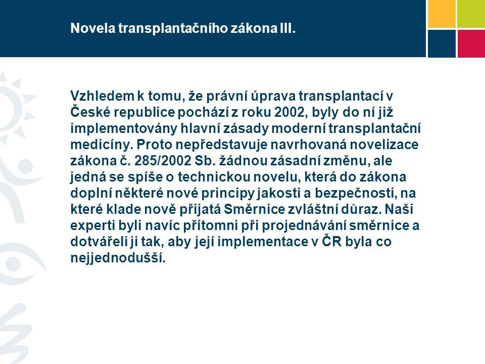 Novela transplantačního zákona III.