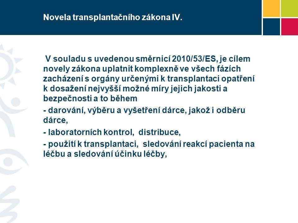 Novela transplantačního zákona IV.