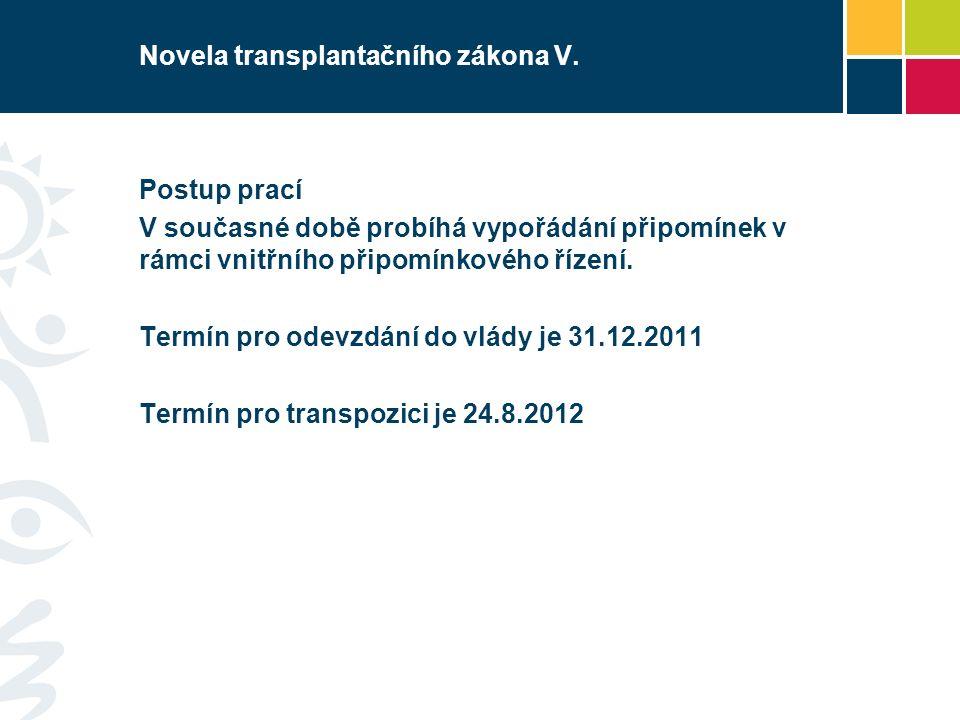 Novela transplantačního zákona V.