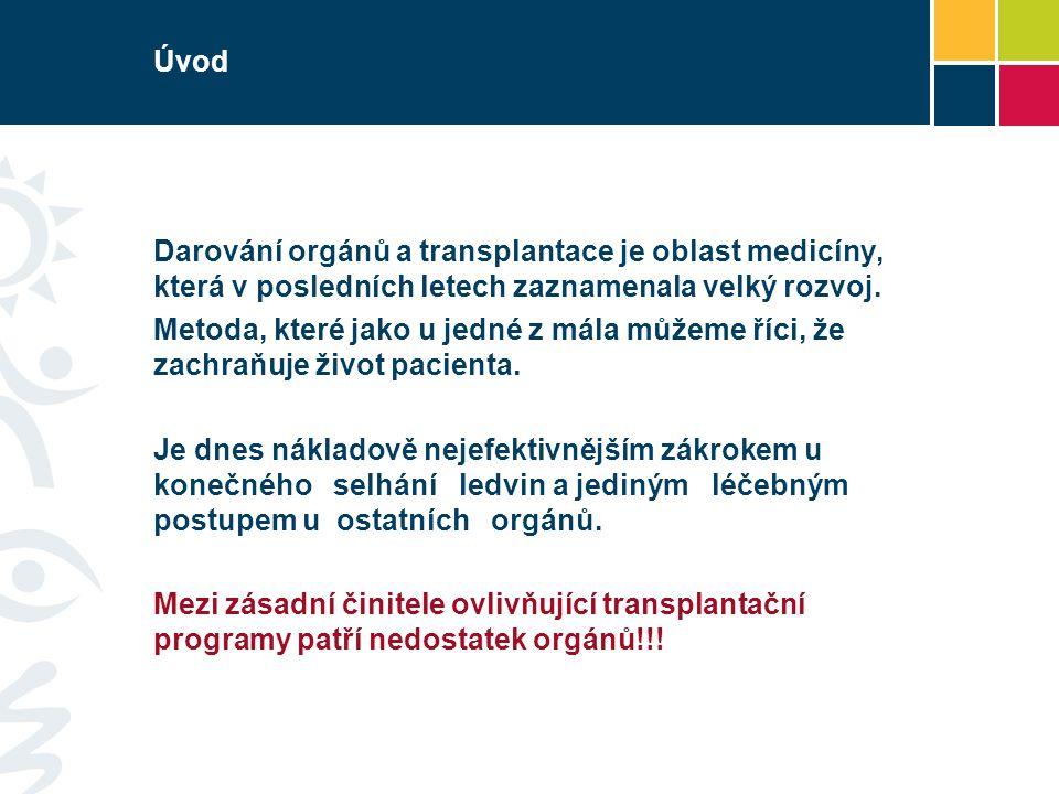 Úvod Darování orgánů a transplantace je oblast medicíny, která v posledních letech zaznamenala velký rozvoj.