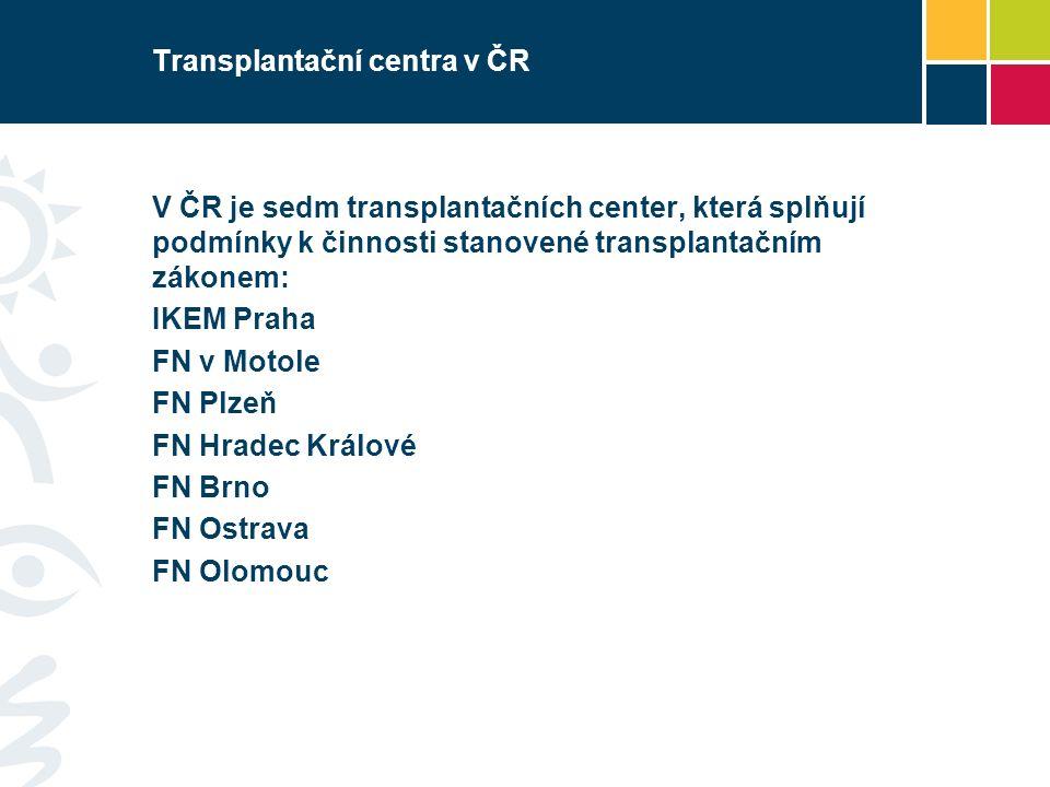 Transplantační centra v ČR V ČR je sedm transplantačních center, která splňují podmínky k činnosti stanovené transplantačním zákonem: IKEM Praha FN v Motole FN Plzeň FN Hradec Králové FN Brno FN Ostrava FN Olomouc