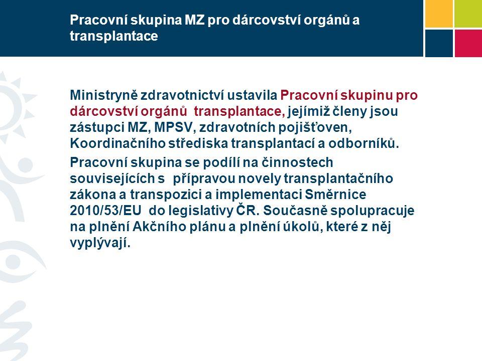 Pracovní skupina MZ pro dárcovství orgánů a transplantace Ministryně zdravotnictví ustavila Pracovní skupinu pro dárcovství orgánů transplantace, jejímiž členy jsou zástupci MZ, MPSV, zdravotních pojišťoven, Koordinačního střediska transplantací a odborníků.