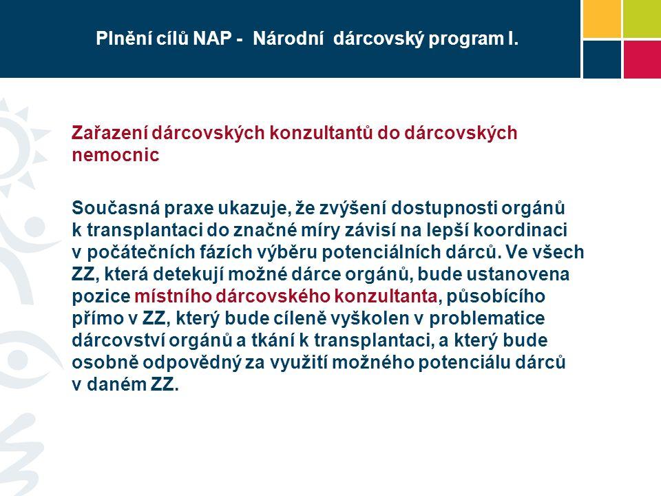 Plnění cílů NAP - Národní dárcovský program I.