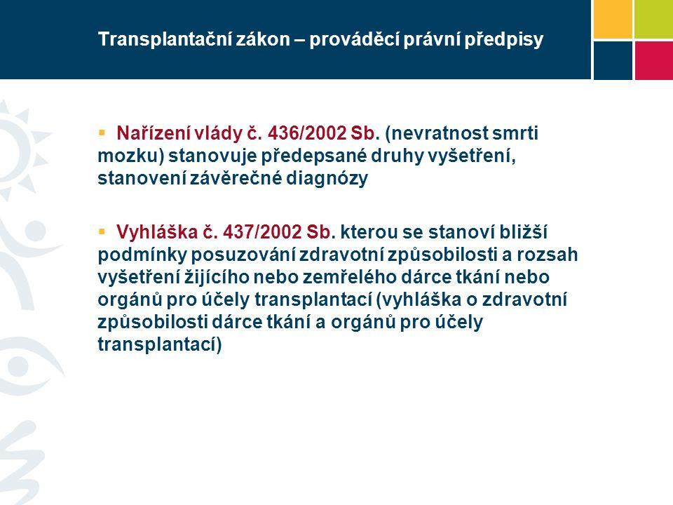 Transplantační zákon – prováděcí právní předpisy  Nařízení vlády č.