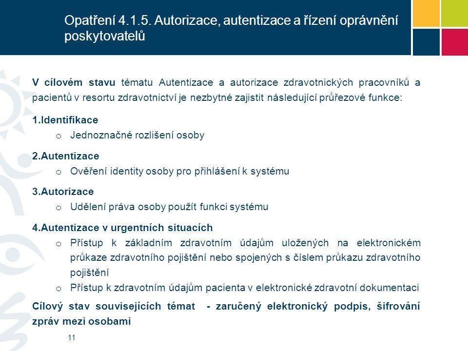 Opatření 4.1.5. Autorizace, autentizace a řízení oprávnění poskytovatelů E-ID 11 V cílovém stavu tématu Autentizace a autorizace zdravotnických pracov