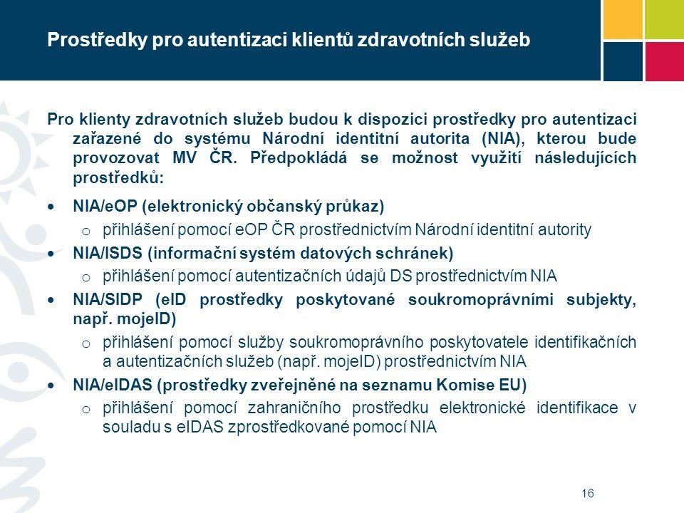 Prostředky pro autentizaci klientů zdravotních služeb Pro klienty zdravotních služeb budou k dispozici prostředky pro autentizaci zařazené do systému Národní identitní autorita (NIA), kterou bude provozovat MV ČR.