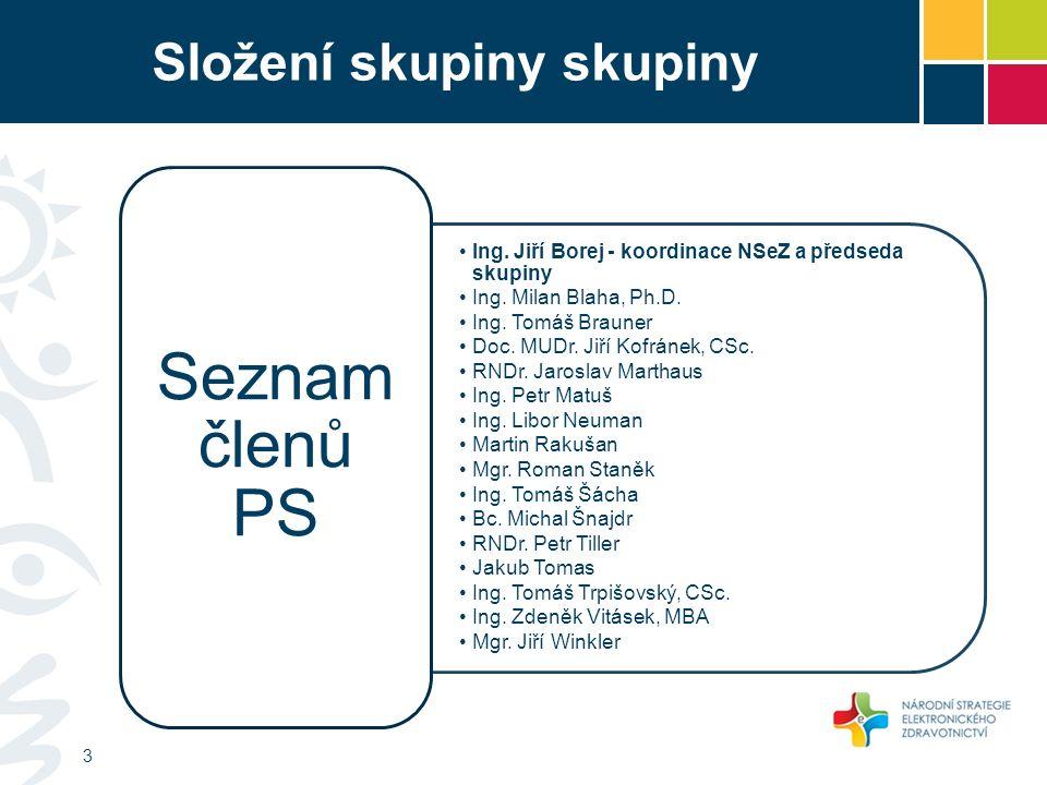 Složení skupiny skupiny Ing. Jiří Borej - koordinace NSeZ a předseda skupiny Ing.