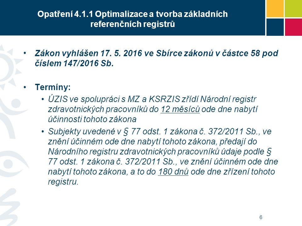 Zákon vyhlášen 17. 5. 2016 ve Sbírce zákonů v částce 58 pod číslem 147/2016 Sb.