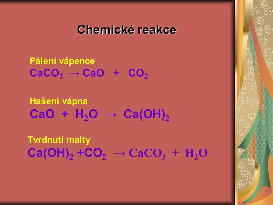 Chemické reakce Pálení vápence CaCO 3 → CaO + CO 2 Hašení vápna CaO + H 2 O → Ca(OH) 2 Tvrdnutí malty Ca(OH) 2 +CO 2 → CaCO 3 + H 2 O