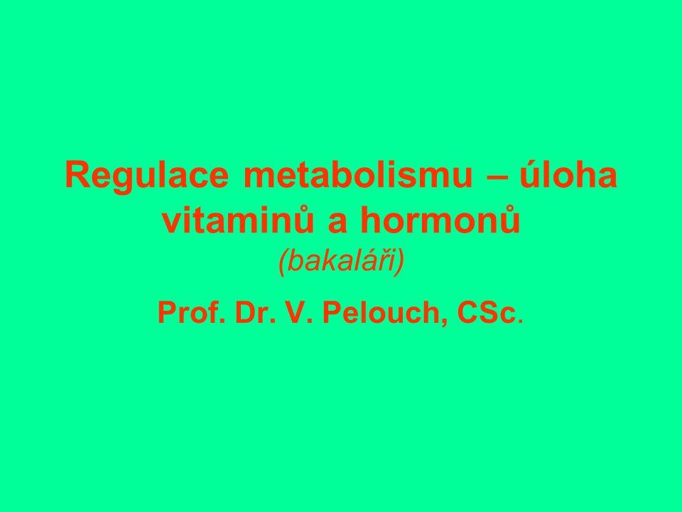 Regulace metabolismu – úloha vitaminů a hormonů (bakaláři) Prof. Dr. V. Pelouch, CSc.