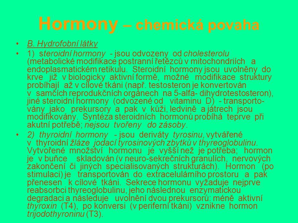 Hormony – chemická povaha B.