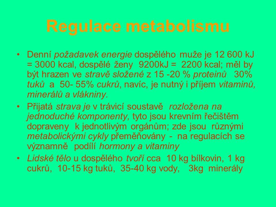 Regulace metabolismu Denní požadavek energie dospělého muže je 12 600 kJ = 3000 kcal, dospělé ženy 9200kJ = 2200 kcal; měl by být hrazen ve stravě složené z 15 -20 % proteinů 30% tuků a 50- 55% cukrů, navíc, je nutný i příjem vitaminů, minerálů a vlákniny.