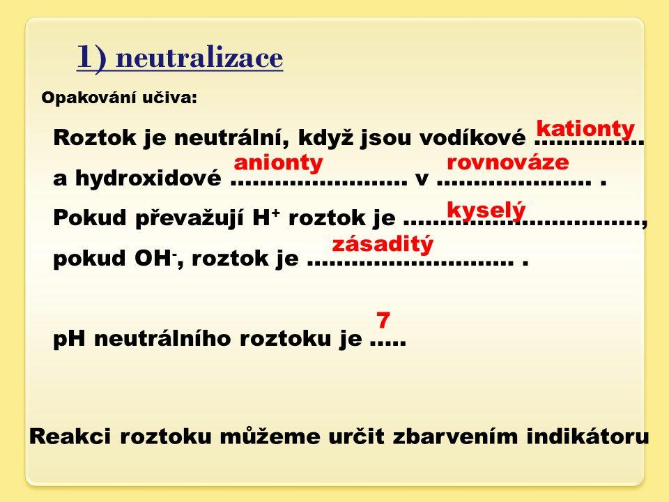 1) neutralizace Opakování učiva: Roztok je neutrální, když jsou vodíkové …………… a hydroxidové …………………… v ………………….