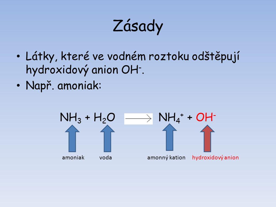Zásady Látky, které ve vodném roztoku odštěpují hydroxidový anion OH -.