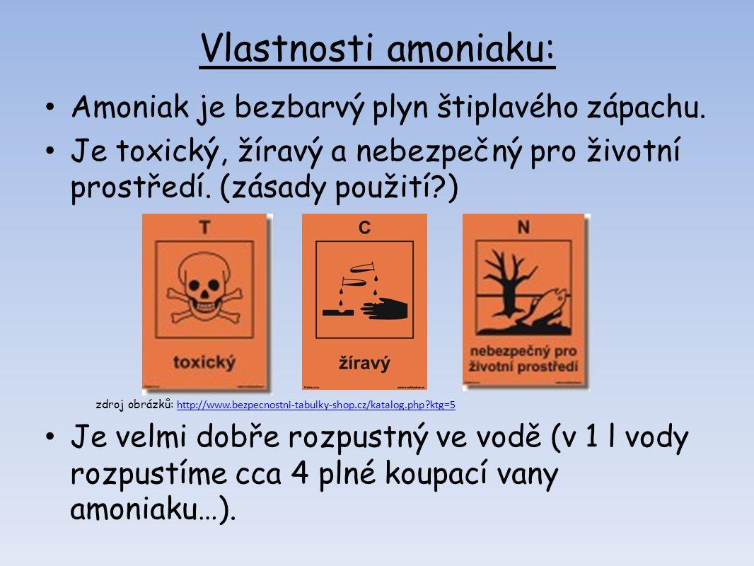 Vlastnosti amoniaku: Amoniak je bezbarvý plyn štiplavého zápachu.