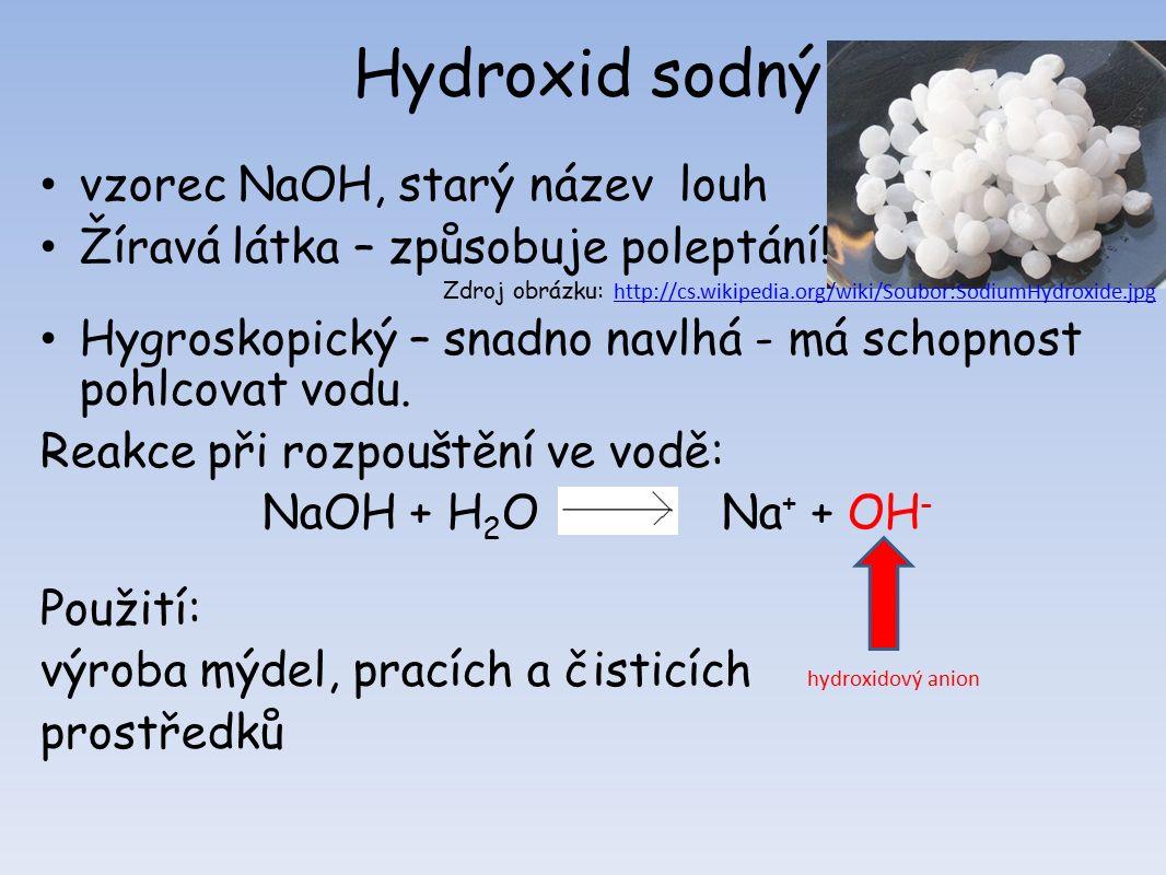 Hydroxid sodný vzorec NaOH, starý název louh Žíravá látka – způsobuje poleptání.