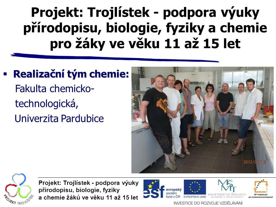 Projekt: Trojlístek - podpora výuky přírodopisu, biologie, fyziky a chemie pro žáky ve věku 11 až 15 let  Realizační tým chemie: Fakulta chemicko- te