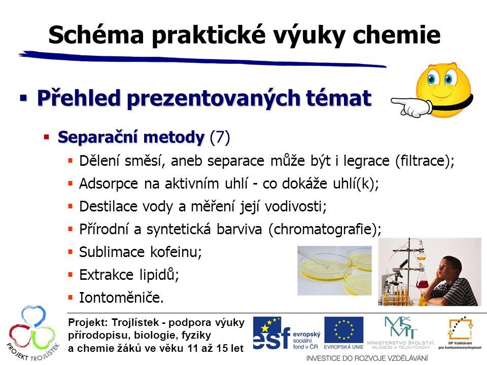 Schéma praktické výuky chemie  Přehled prezentovaných témat  Separační metody  Separační metody (7)  Dělení směsí, aneb separace může být i legrac