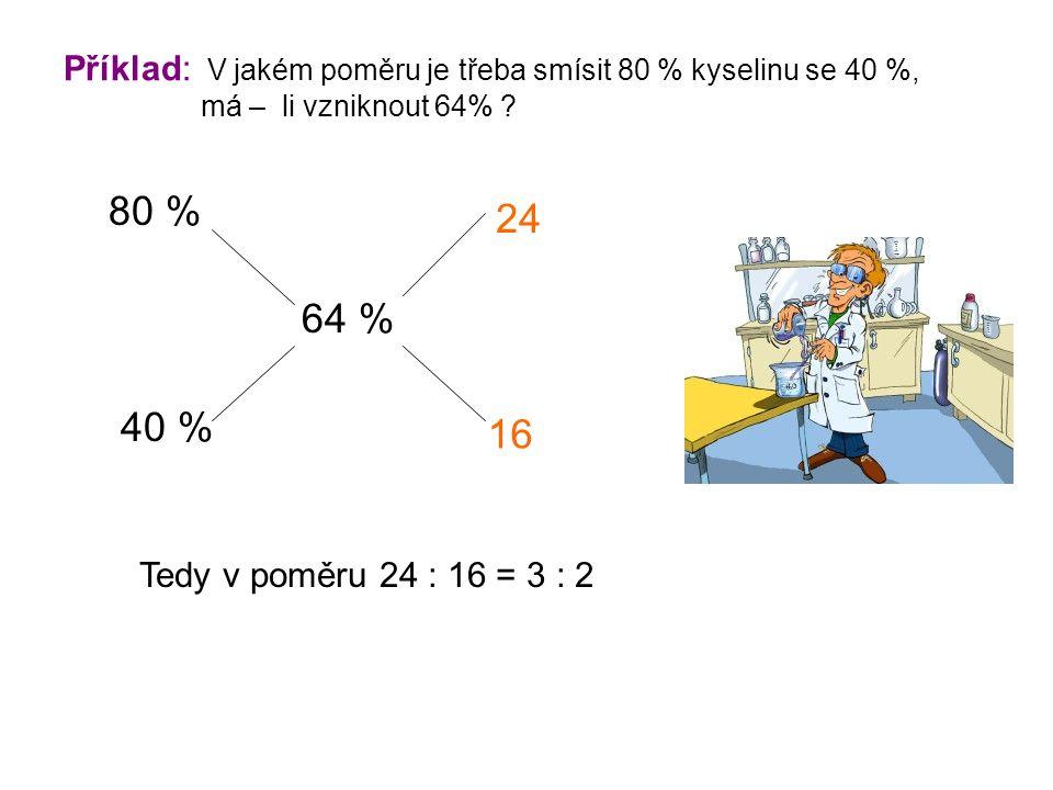 Příklad: V jakém poměru je třeba smísit 80 % kyselinu se 40 %, má – li vzniknout 64% .