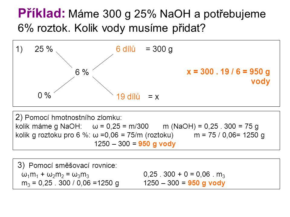 Příklad: Máme 300 g 25% NaOH a potřebujeme 6% roztok.