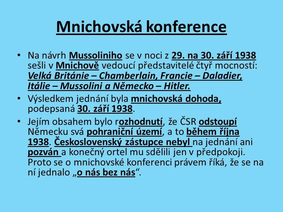 Mnichovská konference Na návrh Mussoliniho se v noci z 29.