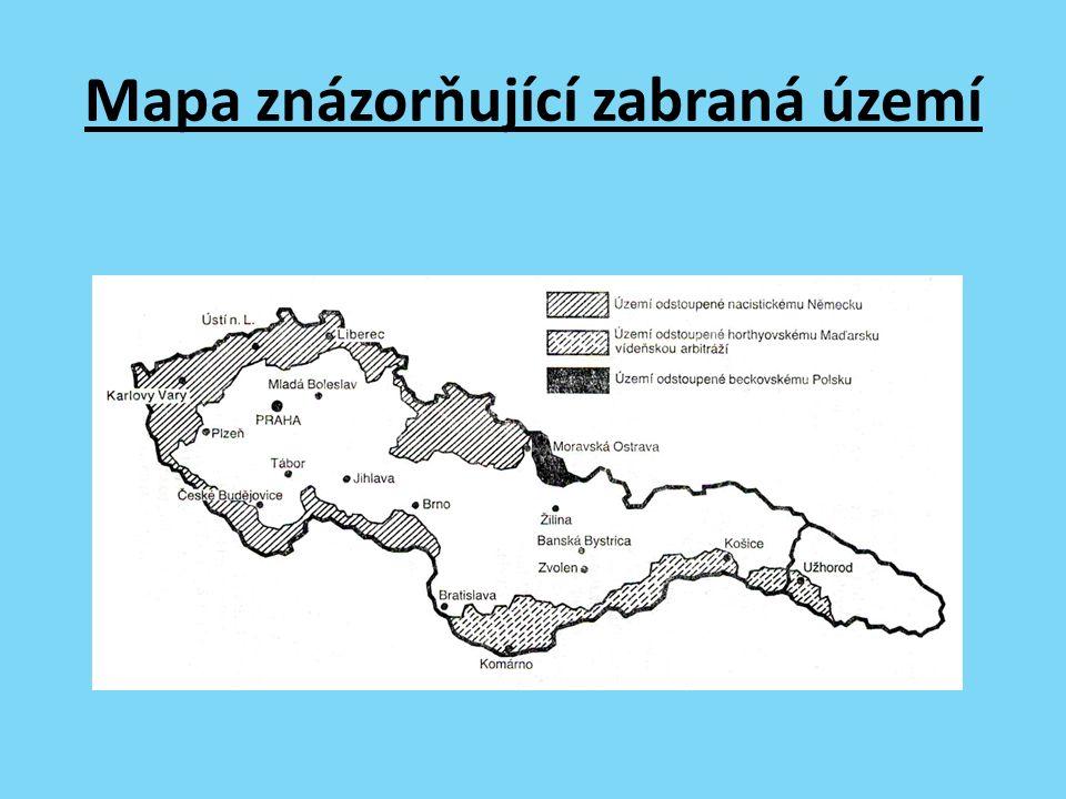 Mapa znázorňující zabraná území