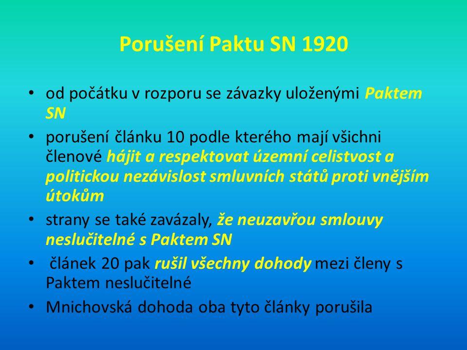 Porušení Paktu SN 1920 od počátku v rozporu se závazky uloženými Paktem SN porušení článku 10 podle kterého mají všichni členové hájit a respektovat územní celistvost a politickou nezávislost smluvních států proti vnějším útokům strany se také zavázaly, že neuzavřou smlouvy neslučitelné s Paktem SN článek 20 pak rušil všechny dohody mezi členy s Paktem neslučitelné Mnichovská dohoda oba tyto články porušila